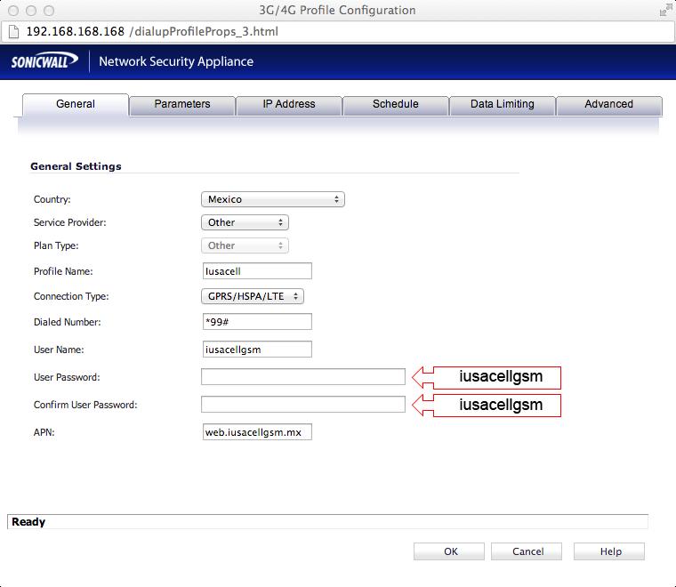 Configuración de equipo Sonicwall con Iusacell